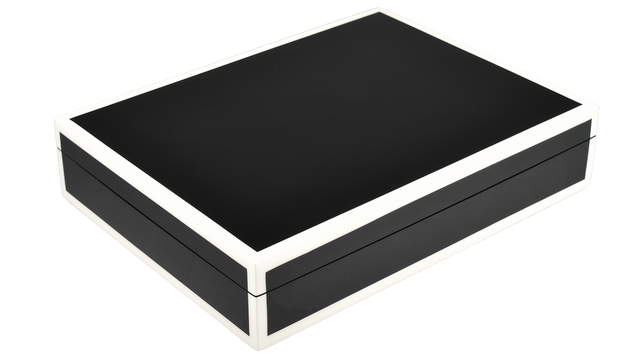 Black with White Trim- Stationery Box