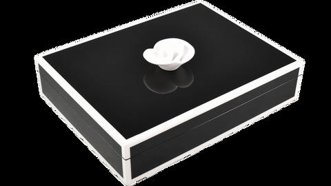 Black with White Trim- Stationery Handle Box