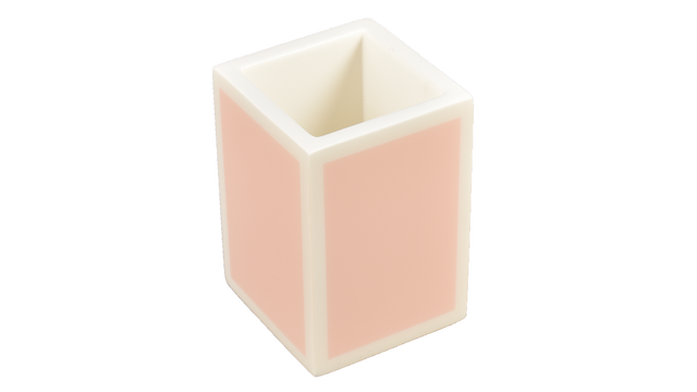 Paris Pink with White Trim- Brush Cup