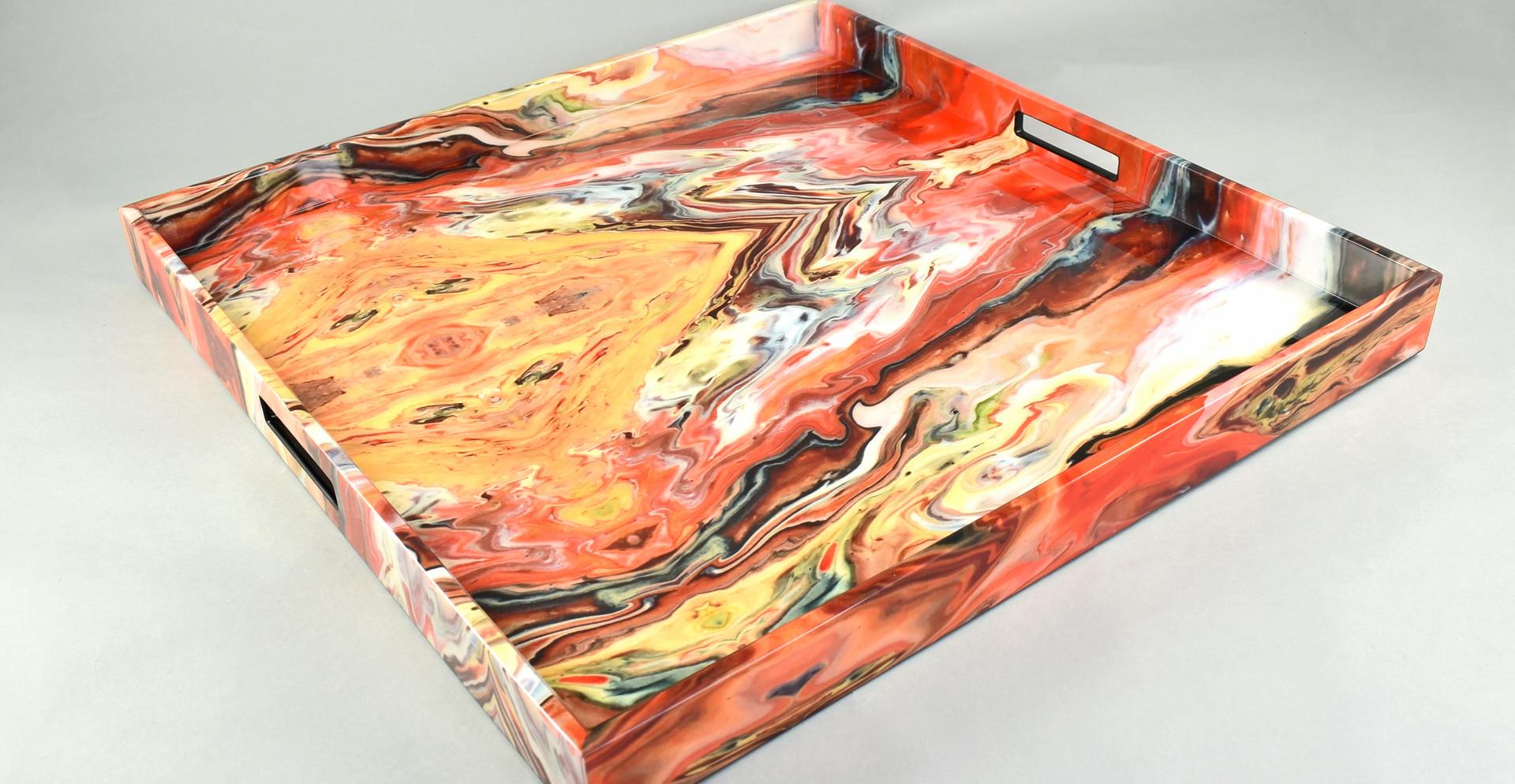 Orange Marble- Large Square Tray