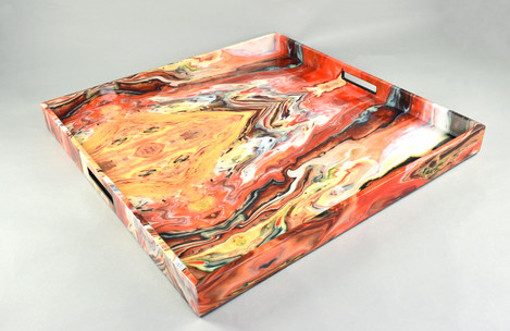 Orange Marble- Large Square Tray