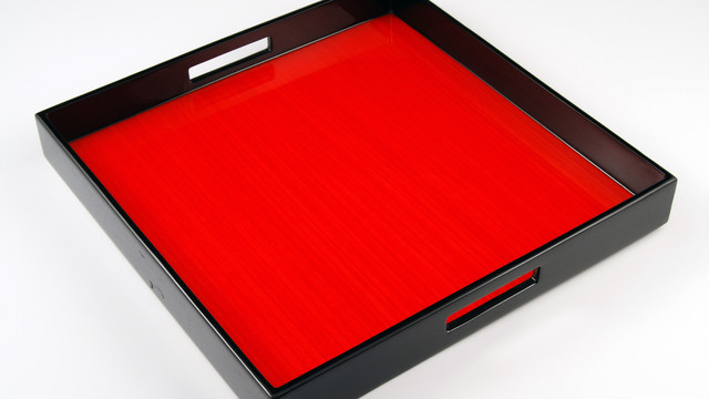 """Red Tulipwood- 16"""" Square Tray"""