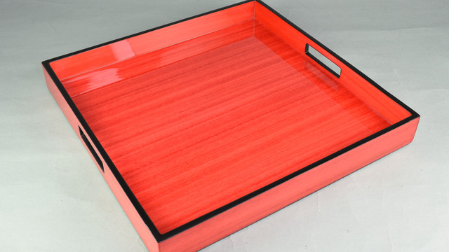 """Red Tulipwood with Black Trim- 16"""" Square Tray"""