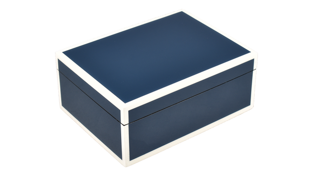 Five Side Navy Blue with White- Medium Box