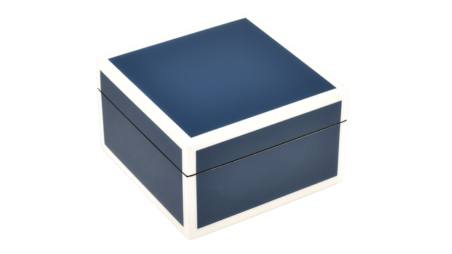 Five Side Navy Blue with White- Square Box