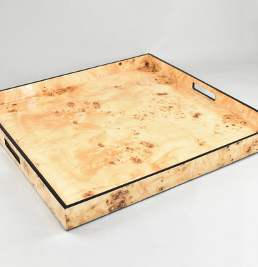 Mappa Burl with Black Trim- Large Square Tray