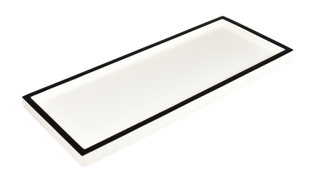 White with Black Trim- Long Vanity Tray