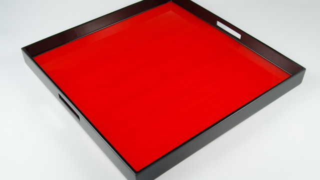 """Red Tulipwood- 22"""" Square Tray"""