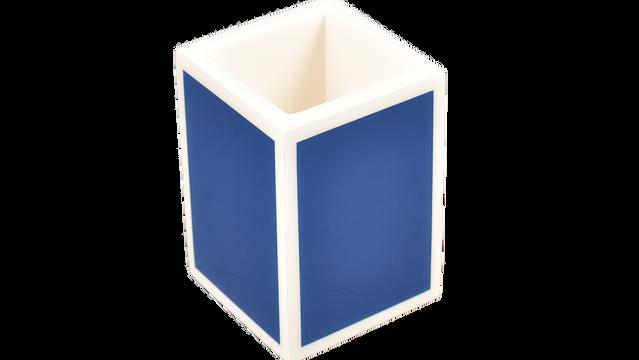 True Blue White Trim- Brush Cup