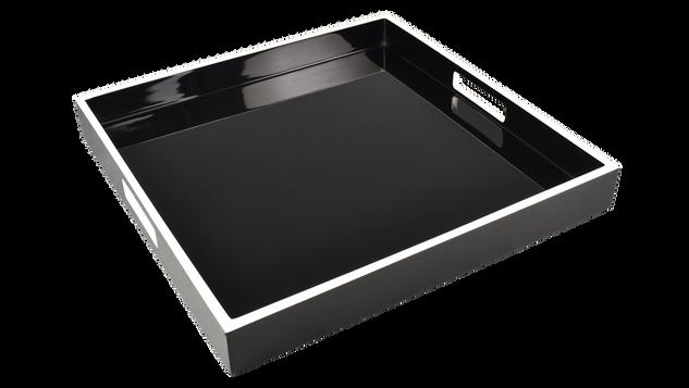 "Black with White Trim- 16"" Square Tray"
