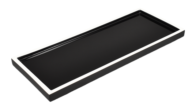 Black with White Trim- Long Vanity Tray