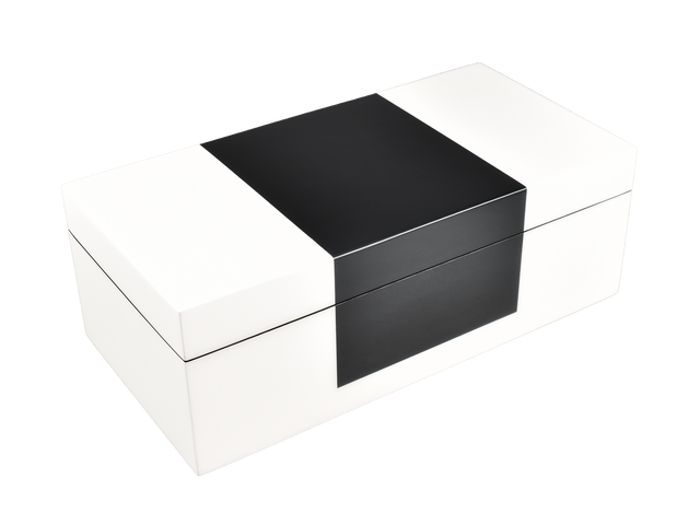 White with Black Center- Hinged Box