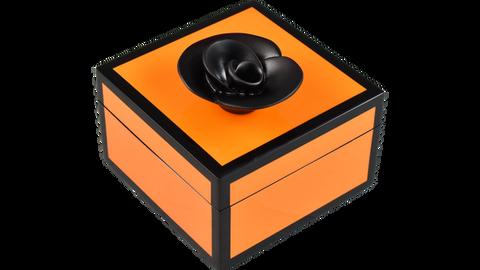 Five Side Orange with Black Trim Black Flower