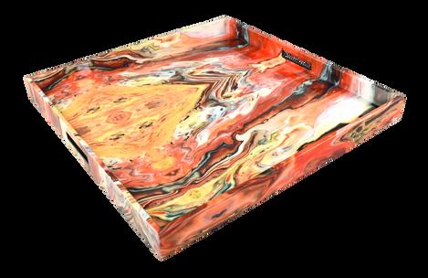 Orange Marble - Large Square Tray