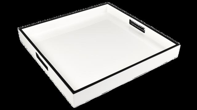 "White with Black Trim- 16"" Square Tray"