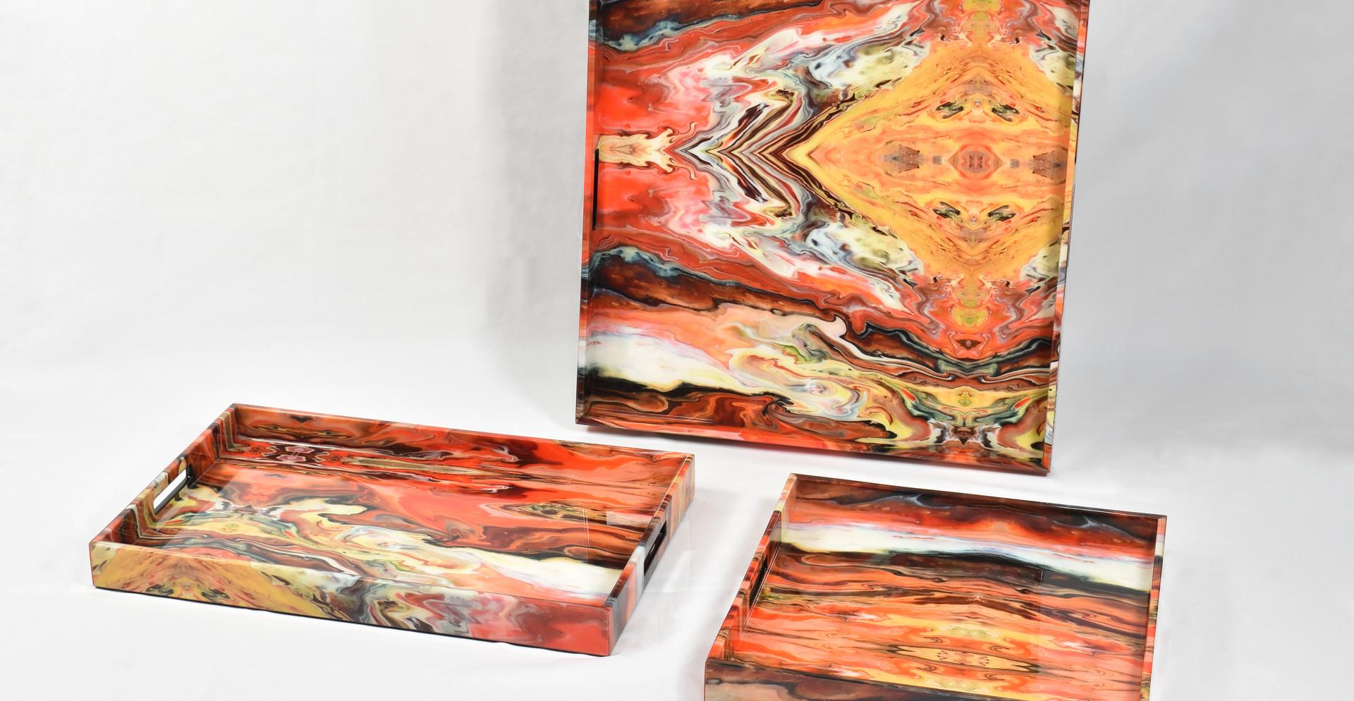 Orange Marble Group Trays