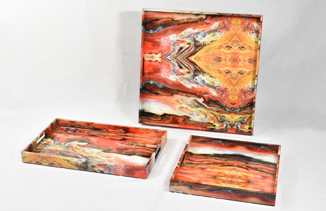 Orange Marble Group Trays