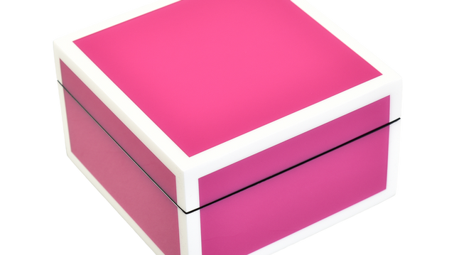 Hot Pink with White- Square Box