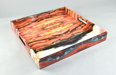 "Orange Marble- 16"" Square Tray"