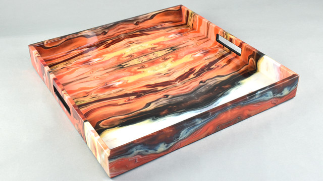 "Orange Marble- 16"" Square Tray"
