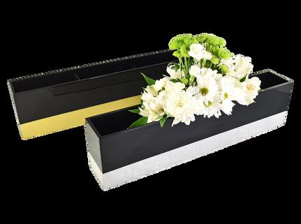 Long Flower Vases- Shine Gold Leaf & Shine Silver Leaf
