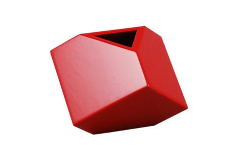 """Red - 7"""" Cube Flower Vase"""