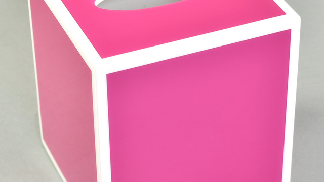 Hot Pink with White- Tissue Box
