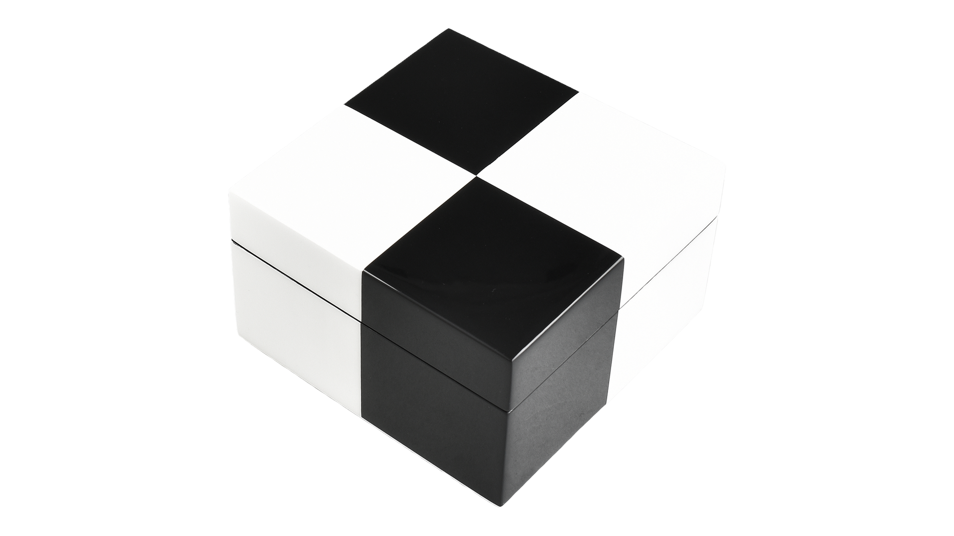 """Check"" Black and White- Square Hinged Box"