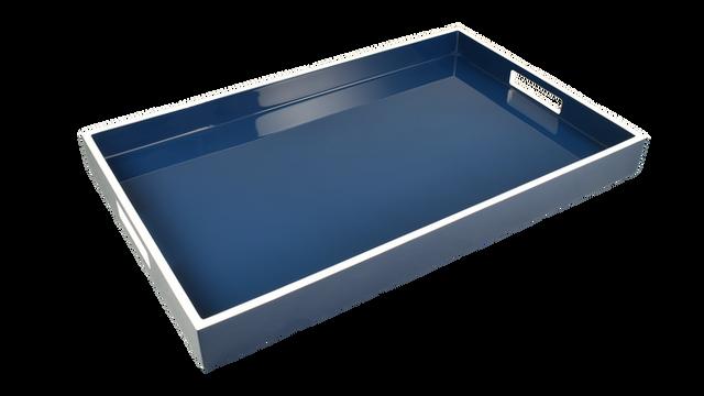Navy Blue White Trim- Breakfast Tray