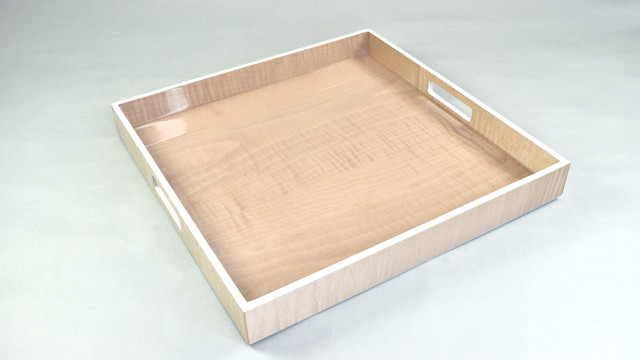 """Sycamore with Silver Dollar- 16"""" Square Tray"""