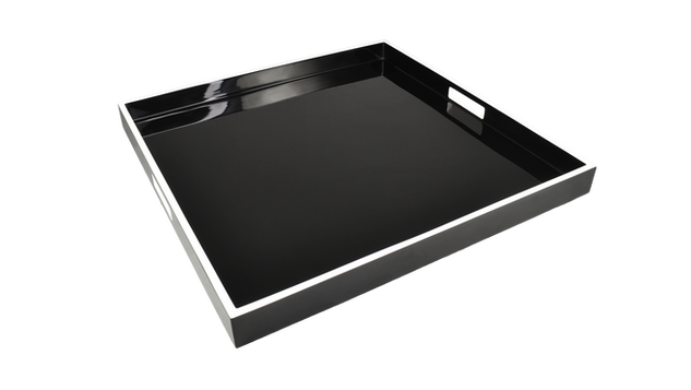 "Black with White Trim- 22"" Square Tray"