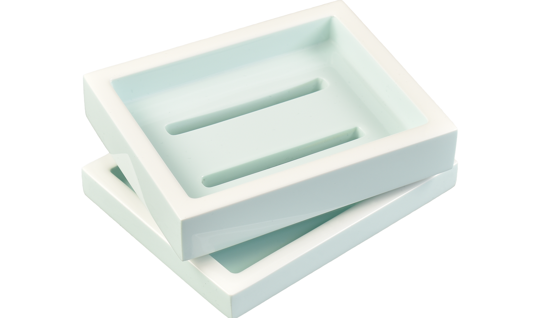 Duck Egg Blue with White- Soap Dish
