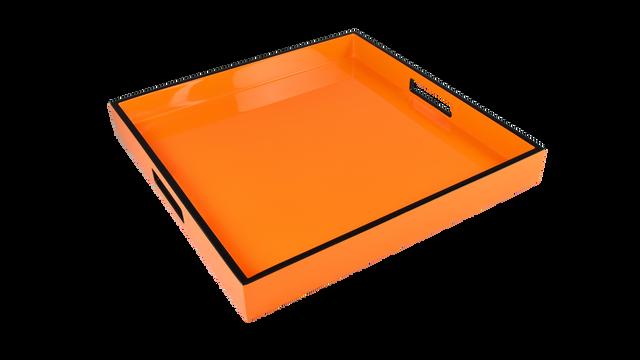 "Orange with Black Trim- 16"" Square Tray"