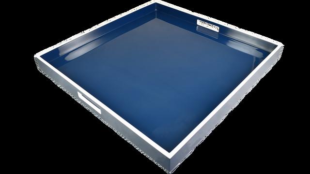 Navy Blue White Trim- Large Square Tray