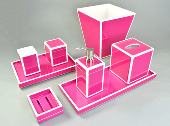 Hot Pink with White- Bath Set