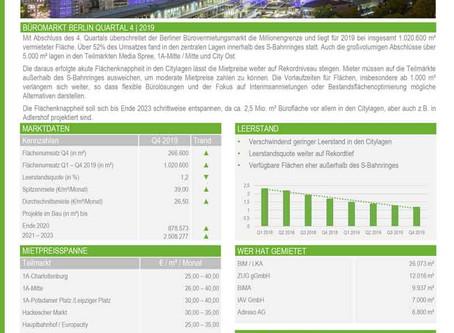 Büroflächenumsatz knackt Millionengrenze! Büromarktübersicht Q4 2019 ist online