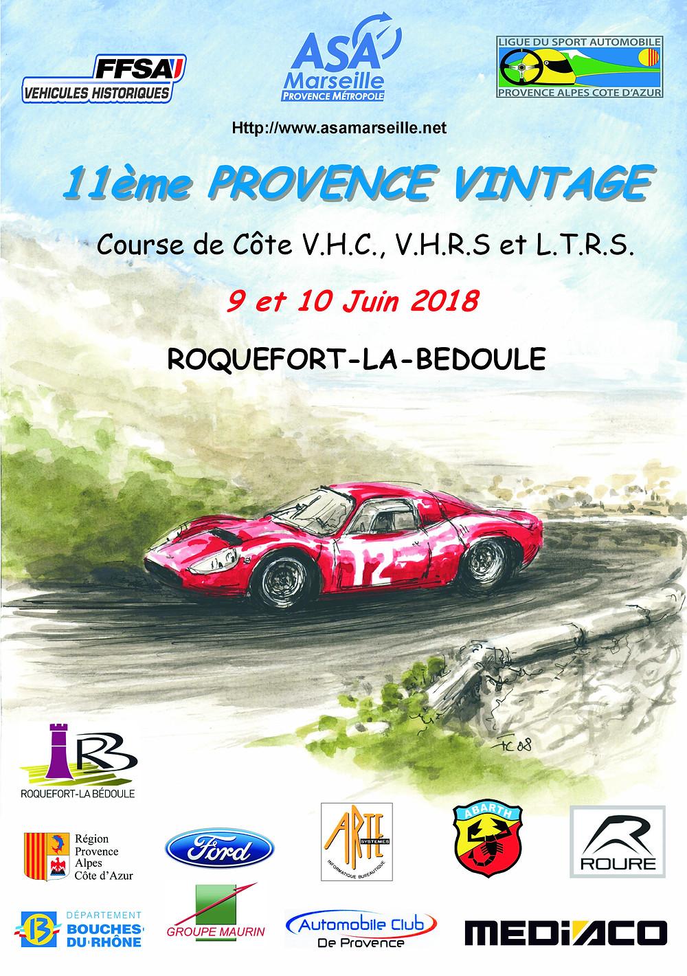 Flyer de la 11e course de côte Provence Vintage.