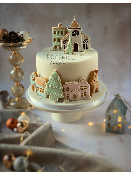 A Christmas Village Scene Cake - Chocolate Orange Sponge (Serves 10-12)