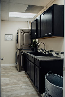 Washer and dryer at salon rental space