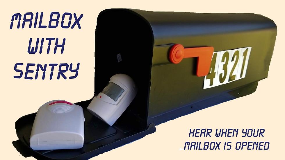 Sentry Mailbox- Black, Medium, Plastic, Sentry Alert & Number installed