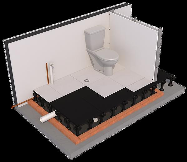 Piso Elevado Remaster para banheiro e areas molhadas; ilustração daniel beneventi