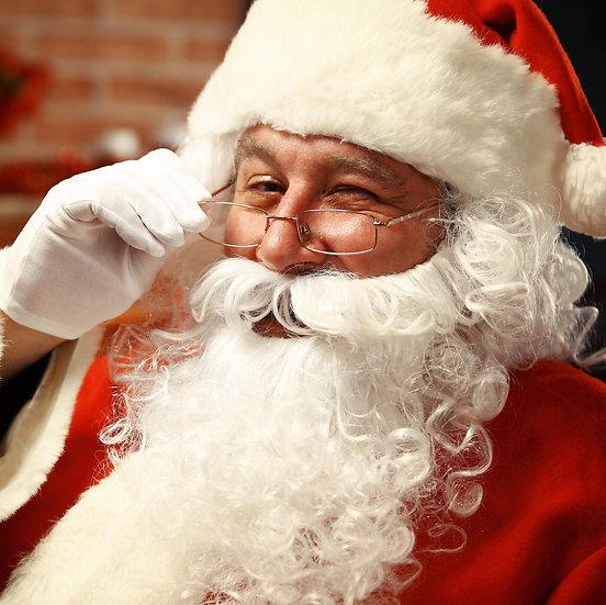 baard met vaste snor en pruik kerstman
