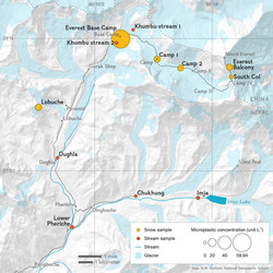 Microplastic sample sites in the Mt. Everest region