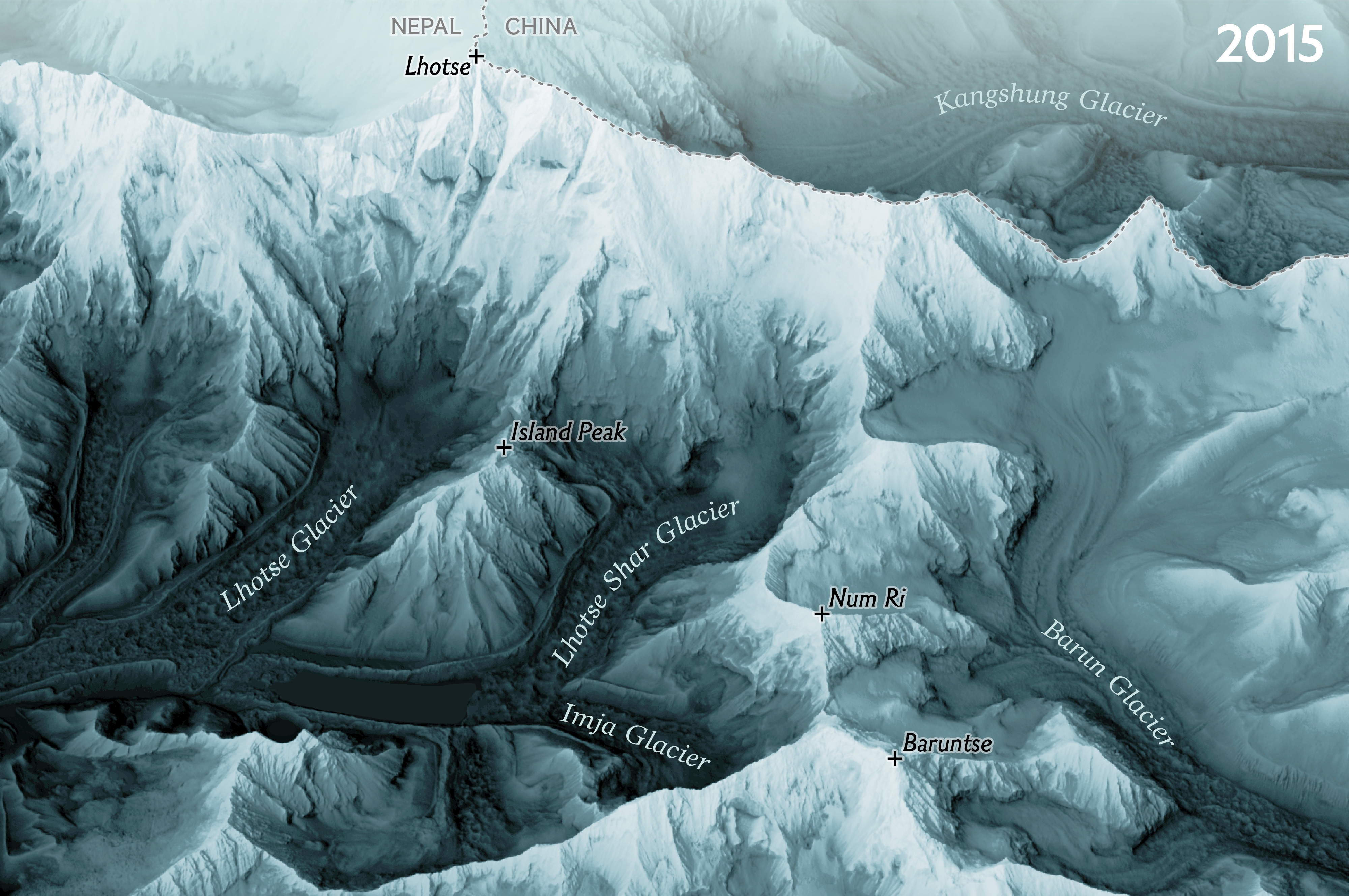 3D view of Everest region, facing North