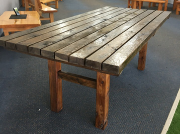 2.0m x 1.0m slatted outdoor dining table