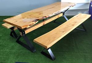 2.4m large slab dining set
