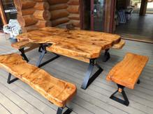 5 piece rustic slab outdoor set