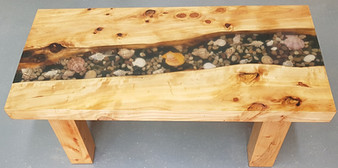 sea shell filled resin coffee table