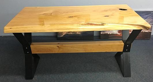 Custom slab desk on metal leg set