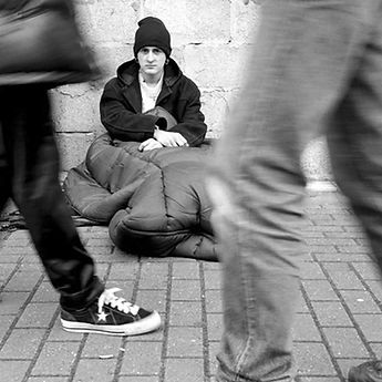 young homeless man on the streets of London
